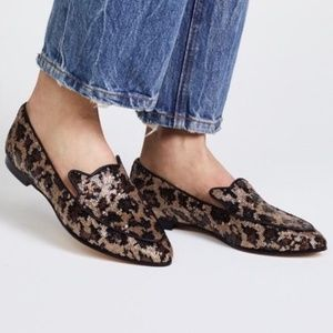 Kate Spade Black/Gold Leopard Caty Flats Size 6.5
